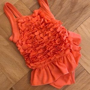 NWT Coral Floral Ruffle Swimsuit Little Me